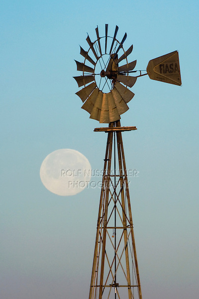 Windmill at sunrise with Full Moon, Canyon, Panhandle, Texas, USA