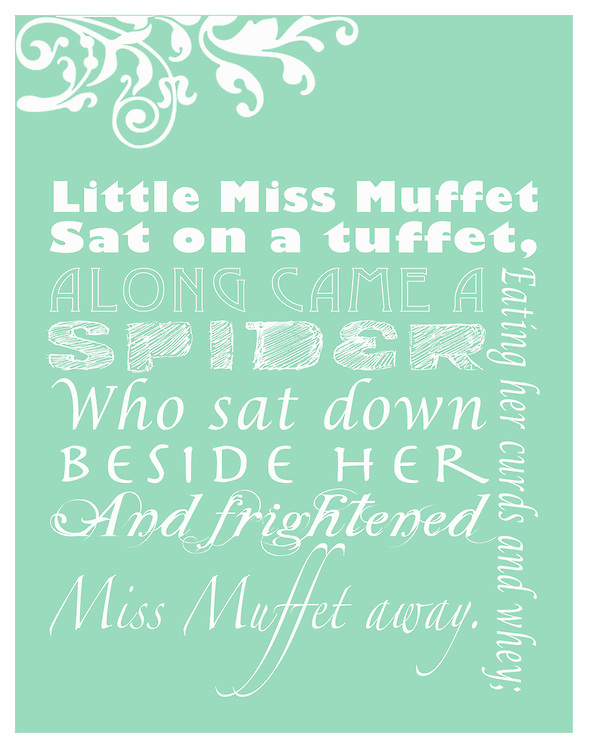 """Nursery Rhymes have been a part of many people's childhood memories. Tummy Tickles has designed these beautiful works of art to display in your child's room to give them a way to see nursery rhymes as a form of art and design. Tummy Tickles Nursery Rhyme prints will make your child's room pop and give their room personality. Prints are 11""""x14""""; for other sizes and products please visit www.tummyticklesphotos.com<br /> <br /> Quote: <br />     Little Miss Muffet<br />     Sat on a tuffet,<br />     Eating her curds and whey;<br />     Along came a spider,<br />     Who sat down beside her<br />     And frightened Miss Muffet away."""