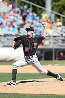 Stuart Holmes (31) of the Vancouver Canadians pitches during a game against the Everett AquaSox at Everett Memorial Stadium on July 28, 2015 in Everett, Washington. Everett defeated Vancouver, 8-5. (Larry Goren/Four Seam Images)