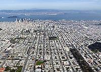 aerial photograph Haight residential neighborhood toward financial district San Francisco California