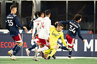 FOXBOROUGH, MA - OCTOBER 16: Keegan Meyer #50 of New England Revolution II watches as the ball from Dominick Hernandez #15 of North Texas SC goes into goal during a game between North Texas SC and New England Revolution II at Gillette Stadium on October 16, 2020 in Foxborough, Massachusetts.