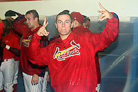 September 7 2008:  Beau Riportella he Batavia Muckdogs, Class-A affiliate of the St. Louis Cardinals, celebrates winning the Pinckney Division after a game at Dwyer Stadium in Batavia, NY.  Photo by:  Mike Janes/Four Seam Images