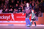 GER - Muelheim an der Ruhr, Germany, February 05: During the FinalFour final men hockey match between Rot-Weiss Koeln (whize) and Mannheimer HC (blue) on February 5, 2017 at innogy Sporthalle in Muelheim an der Ruhr, Germany. (Photo by Dirk Markgraf / www.265-images.com) *** Local caption ***