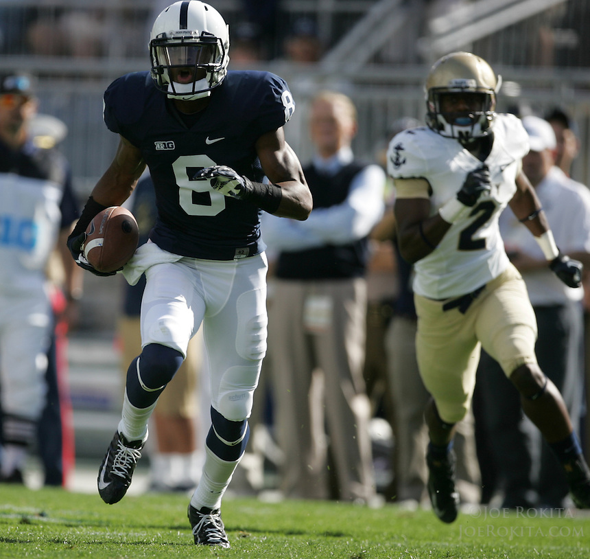 State College, PA - 09/15/2012:  Penn State WR Allen Robinson eludes Navy Safety Wave Ryder while running for a 45-yard touchdown during the 1st quarter.  Penn State defeated Navy by a score of 34-7 on Saturday, September 15, 2012, at Beaver Stadium.  The win was the first for new Penn State head coach Bill O'Brien...Photo:  Joe Rokita / JoeRokita.com..Photo ©2012 Joe Rokita Photography