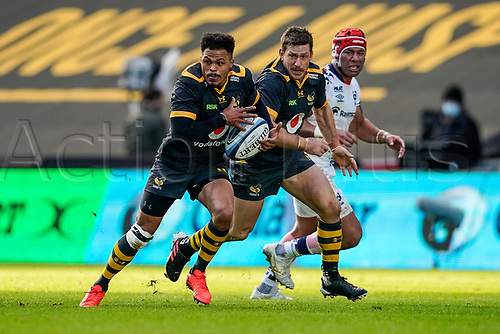 22nd November 2020; Ricoh Arena, Coventry, West Midlands, England; English Premiership Rugby, Wasps versus Bristol Bears; Juan de Jongh of Wasps sets off on a run