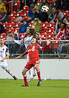 28 September 2010:Real Salt Lake midfielder Kyle Beckerman #5 and Toronto FC forward Mista #10 in action during a CONCACAF Champions League game between Real Salt Lake and Toronto FC at BMO Field in Toronto..Final score was 1-1...