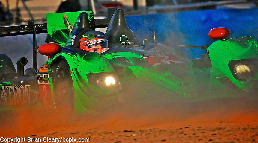 The #2 HPD ARX-03b  of Ed Brown, Johannes van Overbeck and Simon Pagenaud drives through a cloud of dust kicked up by another car during the 12 Hours of Sebring, Sebring International Raceway, Sebring, FL, March 2014.  (Photo by Brian Cleary/www.bcpix.com)
