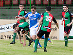 Glentoran v St Johnstone…. 09.07.16  The Oval, Belfast  Pre-Season Friendly<br />Craig Thomson is surrounded by Glentoran players<br />Picture by Graeme Hart.<br />Copyright Perthshire Picture Agency<br />Tel: 01738 623350  Mobile: 07990 594431