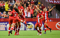 Vancouver, Canada - Thursday November 09, 2017: Team Canada celebrates an Adriana Leon goal during an International friendly match between the Women's National teams of the United States (USA) and Canada (CAN) at BC Place.