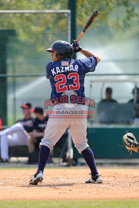 Infielder Sean Kasmar (23) of the Atlanta Braves farm system in a Minor League Spring Training intrasquad game on Wednesday, March 18, 2015, at the ESPN Wide World of Sports Complex in Lake Buena Vista, Florida. (Tom Priddy/Four Seam Images)