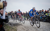 Philippe GILBERT (BEL/Deceuninck-Quick Step) on his way to win  his first Roubaix and is now 1 win away of having won ALL 5 Monument Classics (Milano-Sanremo still missing from his list)<br /> <br /> 117th Paris-Roubaix 2019 (1.UWT)<br /> One day race from Compiègne to Roubaix (FRA/257km)<br /> <br /> ©kramon