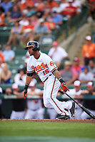Baltimore Orioles second baseman Robert Andino (15) at bat during a Spring Training exhibition game against the Dominican Republic on March 7, 2017 at Ed Smith Stadium in Sarasota, Florida.  Baltimore defeated the Dominican Republic 5-4.  (Mike Janes/Four Seam Images)