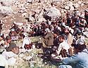 Iraq 1983 .After an attack of PUK, meeting of peshmergas of the Socialiste Democratic party of Kurdistan in Surien.Irak 1983.Apres une attaque de l'UPK, reunion des peshmergas du parti socialiste democratique du Kurdistan dans la montagne de Surien