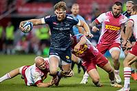 4th June 2021; AJ Bell Stadium, Salford, Lancashire, England; English Premiership Rugby, Sale Sharks versus Harlequins; Dan du Preez of Sale Sharks is tackled