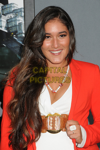 """Q'orianka Kilcher .""""Total Recall"""" Los Angeles Premiere held at Grauman's Chinese Theatre, Hollywood, California, USA..August 1st, 2012.half length white dress red blazer brown belt  pearl necklace rings .CAP/ADM/BP.©Byron Purvis/AdMedia/Capital Pictures."""