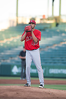 AZL Angels starting pitcher Tulio Santa Maria (48) prepares to deliver a pitch during an Arizona League game against the AZL Indians 2 at Tempe Diablo Stadium on June 30, 2018 in Tempe, Arizona. The AZL Indians 2 defeated the AZL Angels by a score of 13-8. (Zachary Lucy/Four Seam Images)