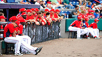 1 March 2011: Members of the Washington Nationals watch the action from the dugout during a Spring Training game against the New York Mets at Space Coast Stadium in Viera, Florida. The Nationals defeated the Mets 5-3 in Grapefruit League action. Mandatory Credit: Ed Wolfstein Photo