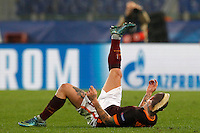 Calcio, Champions League, Gruppo E: Roma vs Bayer Leverkusen. Roma, stadio Olimpico, 4 novembre 2015.<br /> Roma's Radja Nainggolan falls on the pitch during a Champions League, Group E football match between Roma and Bayer Leverkusen, at Rome's Olympic stadium, 4 November 2015.<br /> UPDATE IMAGES PRESS/Riccardo De Luca