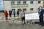 Kerry Hospice Presentation: Erin Stack, organiser of the John McGrath Hospice fund raiser presenting a cheque for €106,355.00 to Jack Shanahan, Chairman of the Kerry Hospice at Listowel Mart on Friday last. Also in the photo are Carmel McGrath, John's mother, Dick Harnett, Mary O'Connor, Listowel Hospice, Dr. Patricia Sheahan, Kerry Hospice and Kieran McGrath, John's brother
