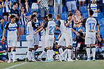 Players of Deportivo Alaves celebrate goal during La Liga match between Getafe CF and Deportivo Alaves at Colisseum Alfonso Perez in Getafe, Spain.Players of Deportivo Alaves August 31, 2019. (ALTERPHOTOS/A. Perez Meca)