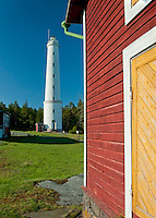 Primary colours prevail in the springtime sun at Säppi Island Lighthouse in the Gulf of Bothnia, Finland.