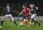 Dundee v St Johnstone....08.11.14   SPFL<br /> Simon Lappin fends off Jim McAlister<br /> Picture by Graeme Hart.<br /> Copyright Perthshire Picture Agency<br /> Tel: 01738 623350  Mobile: 07990 594431