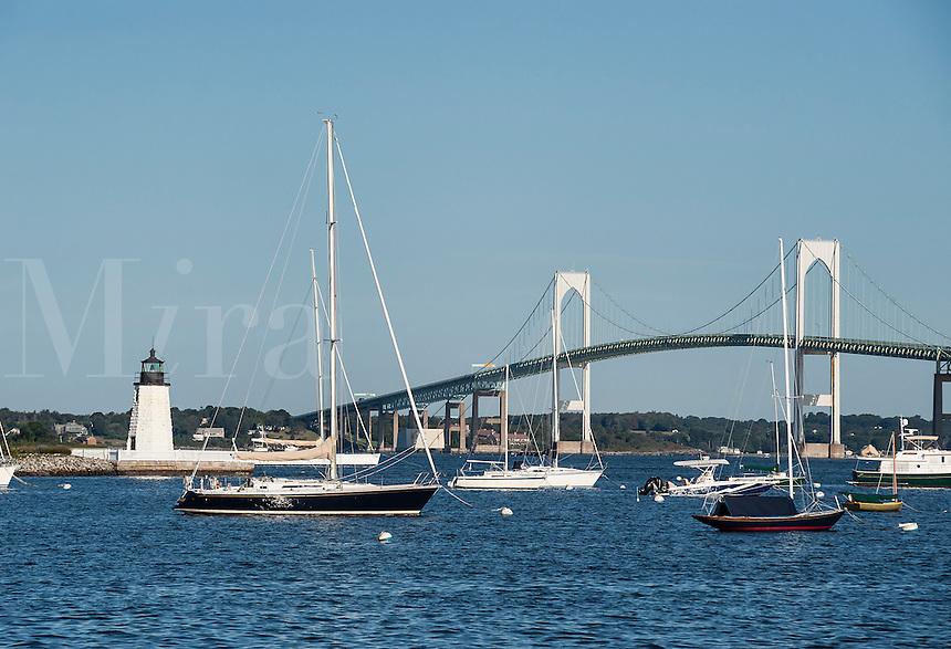 Goat Island Lighthouse and Newport harbor, Rhode Island, USA