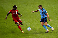 HARRISON, NJ - SEPTEMBER 23: HARRISON, NJ - Wednesday, September 23, 2020: Richie Laryea, James Sands during a game between New York City FC and Toronto FC on September 23, 2020 at Red Bull Arena in Harrison, New Jersey during a game between Toronto FC and New York City FC at Red Bull Arena on September 23, 2020 in Harrison, New Jersey.