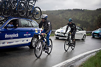 Defending champion Julian ALAPHILIPPE (FRA/Deceuninck-Quick Step) dropping back to the team car to get new/dry gloves, while (fellow former race winner) Wout Poels (NED/SKY) apparently dropped back to get a banana...<br /> <br /> 105th Liège-Bastogne-Liège 2019 (1.UWT)<br /> One day race from Liège to Liège (256km)<br /> <br /> ©kramon