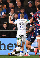1st October 2021;  Ashton Gate Stadium, Bristol, South Gloucestershire, England; Gallagher Premier League rugby, Bristol Bears versus Bath Rugby: Ollie Fox of Bath celebrates as Will Muir of Bath goes over the line for the first try of the match