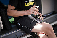 Jack Bauer (NZL/Mitchelton-Scott) prepping his back-up pair of shoes ahead of stage 1 (ITT): Bologna to Bologna/San Luca (8.2km)<br /> 102nd Giro d'Italia 2019<br /> <br /> ©kramon