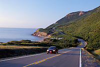 Cabot Trail, road, Cape Breton, Nova Scotia, NS, Canada, The scenic Cabot Trail winds along seacoast of Cape Breton Highlands National Park on the Gulf of St. Lawrence in Cape Breton.