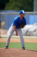 Toronto Blue Jays relief pitcher Francisco Rios (26) looks in for the sign during a Florida Instructional League game against the Pittsburgh Pirates on September 20, 2018 at the Englebert Complex in Dunedin, Florida.  (Mike Janes/Four Seam Images)