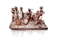 Ancient Egyptian wooden model of bread making, Middle Kingdom, (1939-1875 BC),  Egyptian Museum, Turin. white background. <br /> <br /> Wooden tomb models were an Egyptian funerary custom throughout the Middle Kingdom in which wooden figurines and sets were constructed to be placed in the tombs of Egyptian royalty. These wooden models represented the work of servants, farmers, other skilled craftsman, armies, and religious rituals