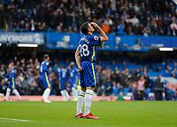 2nd October 2021; Stamford Bridge, Chelsea, London, England; Premier League football Chelsea versus Southampton; Cesar Azpilicueta of Chelsea praying before kick off