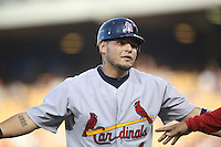 05/20/12 Los Angeles, CA: St. Louis Cardinals catcher Yadier Molina #4 during an MLB game between the St Louis Cardinals and the Los Angeles Dodgers played at Dodger Stadium. The Dodgers defeated the Cardinals 6-5.