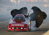 Feb 8, 2020; Pomona, CA, USA; NHRA funny car driver Bob Bode during qualifying for the Winternationals at Auto Club Raceway at Pomona. Mandatory Credit: Mark J. Rebilas-USA TODAY Sports