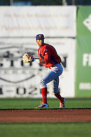 Williamsport Crosscutters second baseman Luis Espiritu, Jr. (33) throws to first base during a game against the Batavia Muckdogs on September 1, 2016 at Dwyer Stadium in Batavia, New York.  Williamsport defeated Batavia 10-3. (Mike Janes/Four Seam Images)