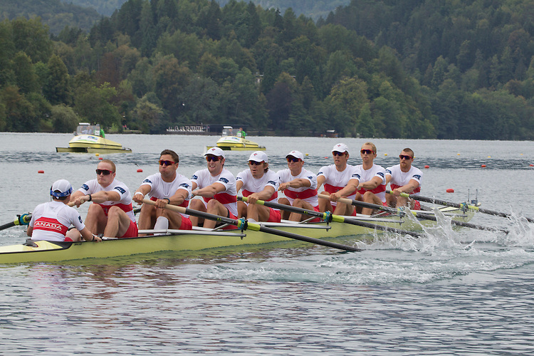 Rowing, 2011 FISA World Rowing Championships, Lake Bled, Bled, Slovenia, Europe, Rowing Canada Aviron, Canadian Men's Eight, 8+, From stern: Brian Price (Belleville, ON) Quinte RC, Will Crothers (Kingston, ON) Kingston RC, Rob Gibson (Kingston, ON) Kingston RC, Conlin McCabe (Brockville, ON) Brockville RC, Malcolm Howard (Victoria, BC) Brentwood College RC, Doug Csima (Oakville, ON) Leander BC, Jeremiah Brown (Cobourg, ON) Victoria City RC, Andrew Byrnes (Toronto, ON) St Catharines RC, Gabe Bergen (100 Mile House, BC) University of Victoria RC,.