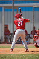 Philadelphia Phillies Vito Friscia (27) bats during an exhibition game against the Canada Junior National Team on March 11, 2020 at Baseball City in St. Petersburg, Florida.  (Mike Janes/Four Seam Images)