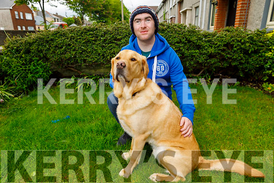 Dara O'Cinnede with his guide dog Hansen at home in Marion Park on Thursday.