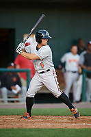 Bowie Baysox third baseman Sean Coyle (5) at bat during a game against the Harrisburg Senators on May 16, 2017 at FNB Field in Harrisburg, Pennsylvania.  Bowie defeated Harrisburg 6-4.  (Mike Janes/Four Seam Images)