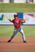 Washington Nationals Jake Alu (7) throws to first base during an Instructional League game against the Miami Marlins on September 26, 2019 at FITTEAM Ballpark of The Palm Beaches in Palm Beach, Florida.  (Mike Janes/Four Seam Images)