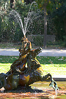 fountain and statue in the jardim do palacio de cristal park porto portugal