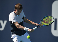 MIAMI GARDENS, FL - MARCH 31: Jannik Sinner Vs Alexander Bublik during the quarterfinals at the 2021Miami Open at Hard Rock Stadium on March 31, 2021 in Miami Gardens, Florida. <br /> CAP/MPI04<br /> ©MPI04/Capital Pictures