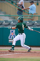 USF Bulls second baseman Jordan Santos (5) follows through on a swing during a game against the Dartmouth Big Green on March 17, 2019 at USF Baseball Stadium in Tampa, Florida.  USF defeated Dartmouth 4-1.  (Mike Janes/Four Seam Images)