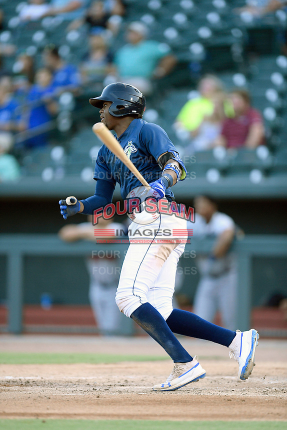 Third baseman Shervyen Newton (3) of the Columbia Fireflies bats in a game against the Rome Braves on Tuesday, June 4, 2019, at Segra Park in Columbia, South Carolina. Columbia won, 3-2. (Tom Priddy/Four Seam Images)