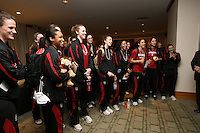 3 April 2008: Stanford Cardinal (L-R) Jillian Harmon, JJ Hones, Melanie Murphy, Kayla Pedersen, Morgan Clyburn, Hannah Donaghe, Rosalyn Gold-Onwude, Cissy Pierce, and Michelle Harrison at the Westin Harbour Island Hotel during Stanford's travel day to the 2008 NCAA Division I Women's Basketball Final Four in Tampa Bay, FL.