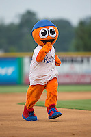 "Burlington Royals mascot ""Bingo"" runs the bases between innings of the game against the Bluefield Blue Jays at Burlington Athletic Park on July 1, 2015 in Burlington, North Carolina.  The Royals defeated the Blue Jays 5-4. (Brian Westerholt/Four Seam Images)"