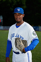 Bluefield Blue Jays pitcher Adams Cuevas (32) poses for a photo before a game against the Bristol Pirates on July 26, 2018 at Bowen Field in Bluefield, Virginia.  Bristol defeated Bluefield 7-6.  (Mike Janes/Four Seam Images)